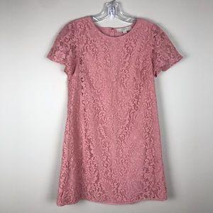 Loft   blush pink short sleeve lace dress 4